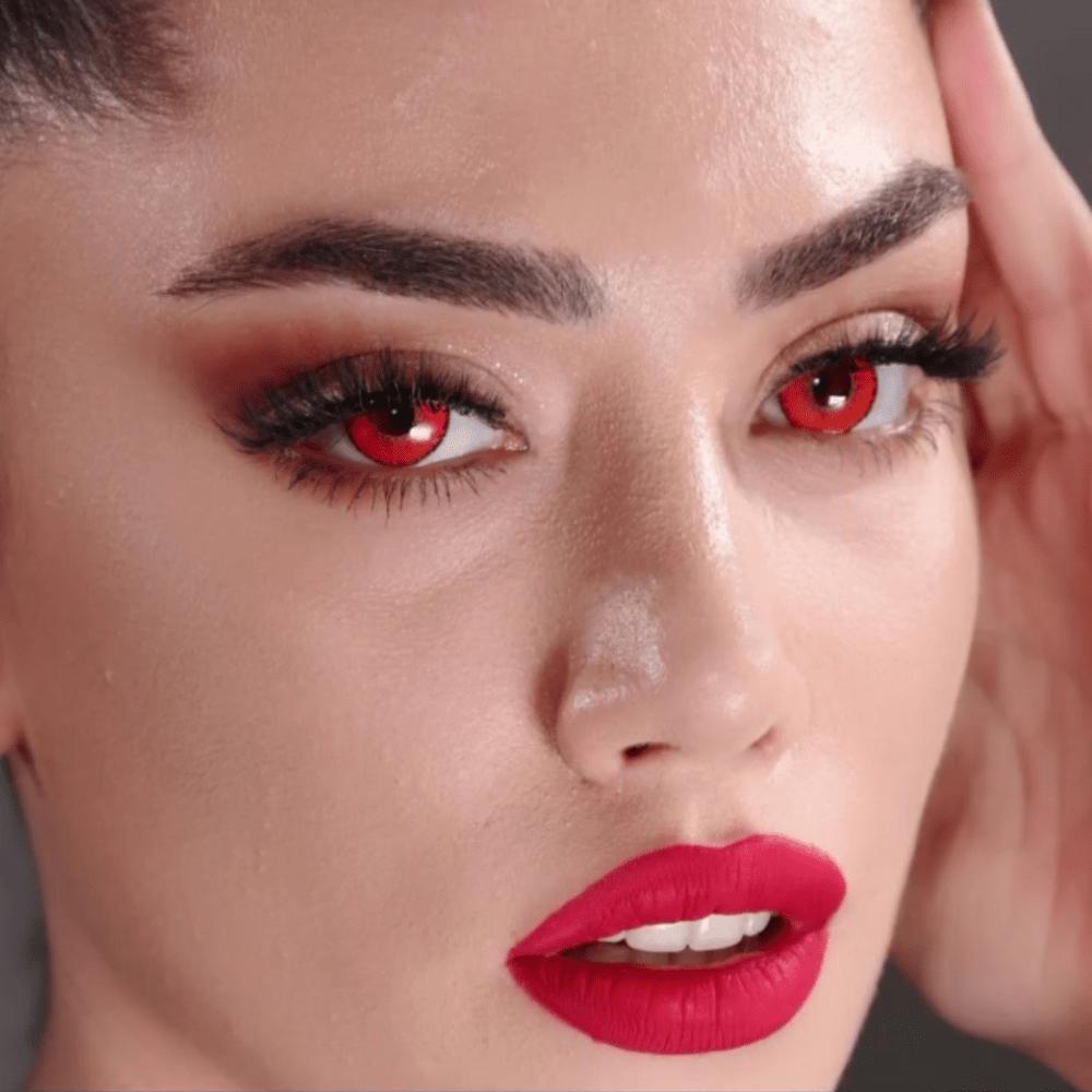 iconic red cosplay kırmızı parti lensi